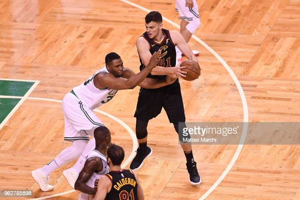 Ante Zizic of the Cleveland Cavaliers handles the ball against Guerschon Yabusele of the Boston Celtics during Game Five of the 2018 NBA Eastern...