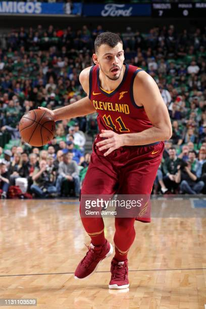Ante Zizic of the Cleveland Cavaliers handles the ball against the Dallas Mavericks on March 16 2019 at the American Airlines Center in Dallas Texas...