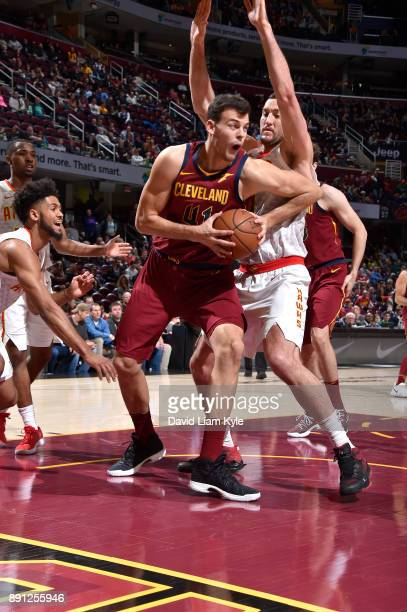 Ante Zizic of the Cleveland Cavaliers handles the ball against the Atlanta Hawks on December 12 2017 at Quicken Loans Arena in Cleveland Ohio NOTE TO...