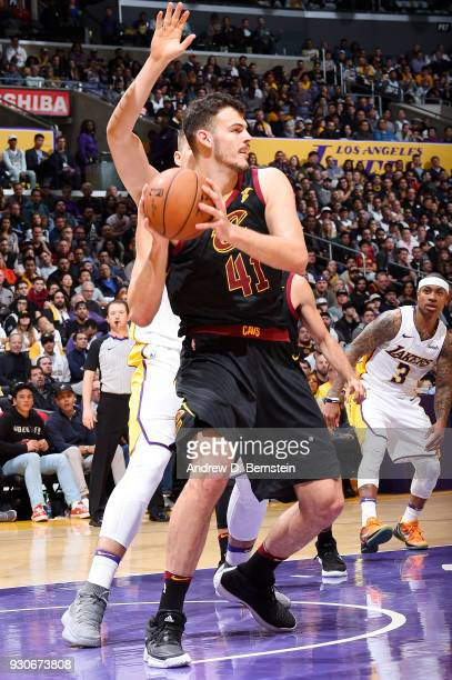 Ante Zizic of the Cleveland Cavaliers handles the ball against the Los Angeles Lakers on March 11 2018 at STAPLES Center in Los Angeles California...