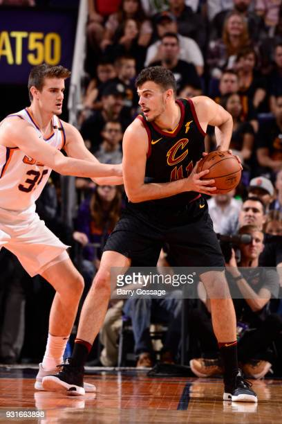 Ante Zizic of the Cleveland Cavaliers handles the ball against the Phoenix Suns on March 13 2018 at Talking Stick Resort Arena in Phoenix Arizona...