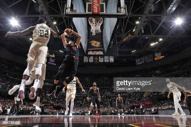 Ante Zizic of the Cleveland Cavaliers handles the ball against the Milwaukee Bucks on March 19 2018 at Quicken Loans Arena in Cleveland Ohio NOTE TO...