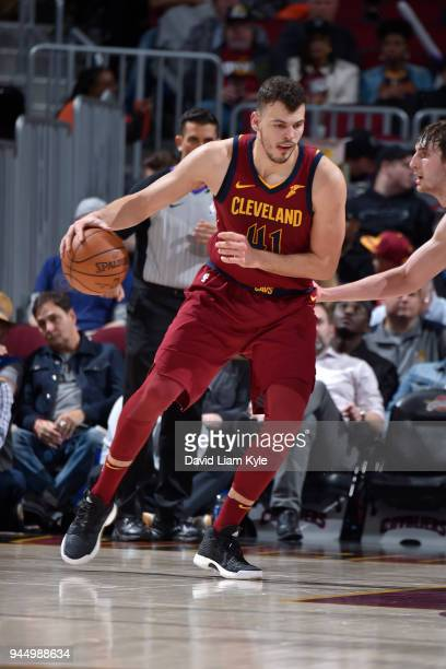 Ante Zizic of the Cleveland Cavaliers handles the ball against the New York Knicks on April 11 2018 at Quicken Loans Arena in Cleveland Ohio NOTE TO...
