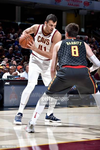 Ante Zizic of the Cleveland Cavaliers handles the ball during the preseason game against the Atlanta Hawks on October 4 2017 at Quicken Loans Arena...