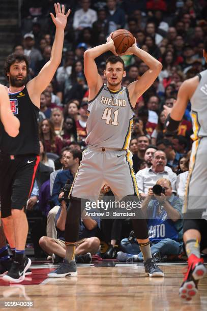 Ante Zizic of the Cleveland Cavaliers looks to pass against the LA Clippers on March 9 2018 at STAPLES Center in Los Angeles California NOTE TO USER...