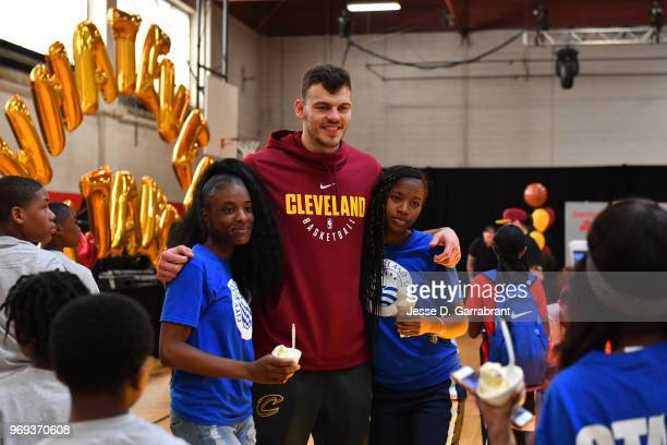 Ante Zizic of the Cleveland Cavaliers poses with fans during the 2018 NBA Finals Legacy Project NBA Cares on June 07 2018 at the Thurgood Marshall...