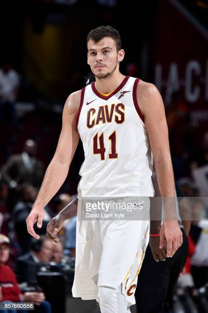 Ante Zizic of the Cleveland Cavaliers reacts during the preseason game against the Atlanta Hawks on October 4 2017 at Quicken Loans Arena in...