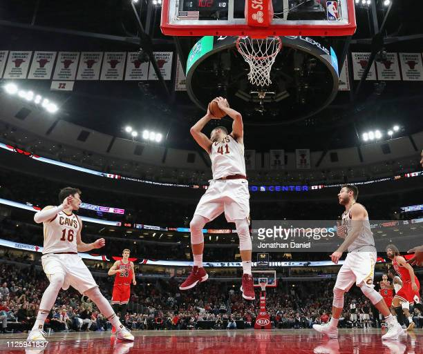Ante Zizic of the Cleveland Cavaliers rebounds against the Chicago Bulls at the United Center on January 27 2019 in Chicago Illinois The Cavaliers...
