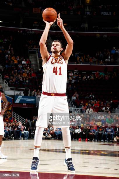 Ante Zizic of the Cleveland Cavaliers shoots a free throw during the preseason game against the Indiana Pacers on October 6 2017 at Quicken Loans...