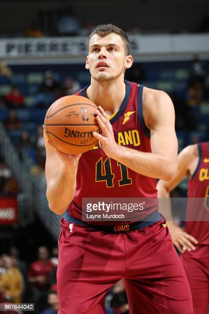 Ante Zizic of the Cleveland Cavaliers shoots the ball against the New Orleans Pelicans on October 28 2017 at the Smoothie King Center in New Orleans...