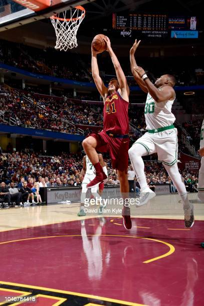 Ante Zizic of the Cleveland Cavaliers shoots the ball against the Boston Celtics during a preseason game on October 6 2018 at Quicken Loans Arena in...