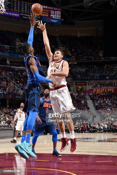 Ante Zizic of the Cleveland Cavaliers shoots the ball against the Oklahoma City Thunder on November 7 2018 at Quicken Loans Arena in Cleveland Ohio...
