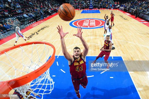 Ante Zizic of the Cleveland Cavaliers shoots the ball against the Detroit Pistons on November 19 2018 at Little Caesars Arena in Detroit Michigan...