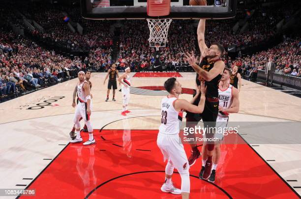 Ante Zizic of the Cleveland Cavaliers shoots the ball against the Portland Trail Blazers on January 16 2019 at the Moda Center Arena in Portland...