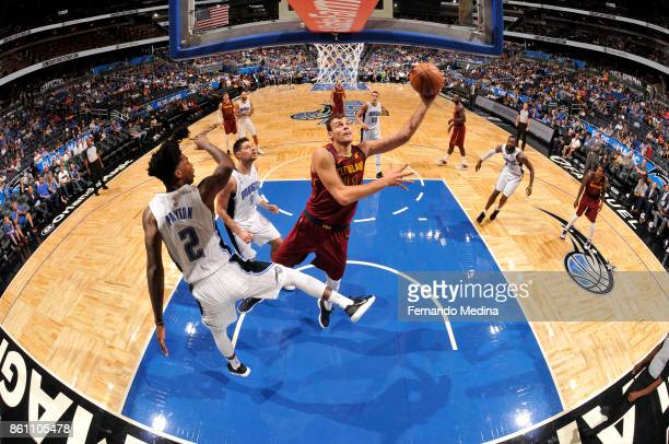 Ante Zizic of the Cleveland Cavaliers shoots the ball against the Orlando Magic during the preseason game on October 13 2017 at Amway Center in...