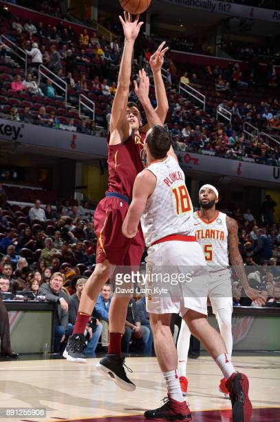 Ante Zizic of the Cleveland Cavaliers shoots the ball against the Atlanta Hawks on December 12 2017 at Quicken Loans Arena in Cleveland Ohio NOTE TO...