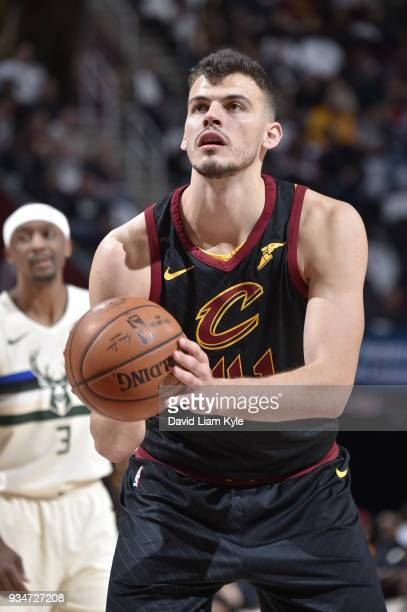 Ante Zizic of the Cleveland Cavaliers shoots the ball against the Milwaukee Bucks on March 19 2018 at Quicken Loans Arena in Cleveland Ohio NOTE TO...