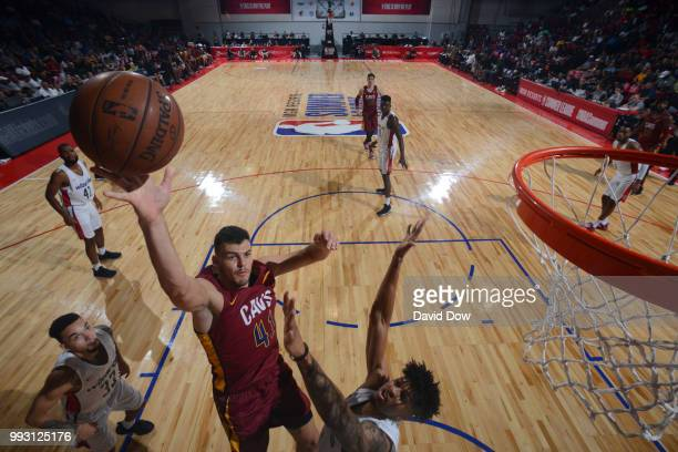 Ante Zizic of the Cleveland Cavaliers shoots the ball against the Washington Wizards during the 2018 Las Vegas Summer League on July 6 2018 at the...