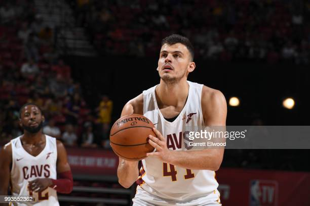 Ante Zizic of the Cleveland Cavaliers shoots the ball against the Chicago Bulls during the 2018 Las Vegas Summer League on July 7 2018 at the Thomas...