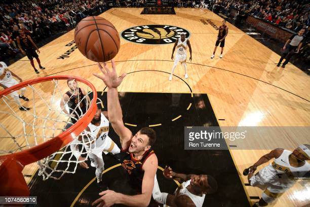 Ante Zizic of the Cleveland Cavaliers shoots the ball during the game against the Toronto Raptors on December 21 2018 at the Scotiabank Arena in...