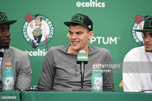 Ante Zizic speaks at a press conference after being drafted by the Boston Celtics during the 2016 NBA Draft on June 24 2016 at TD Garden in Boston...