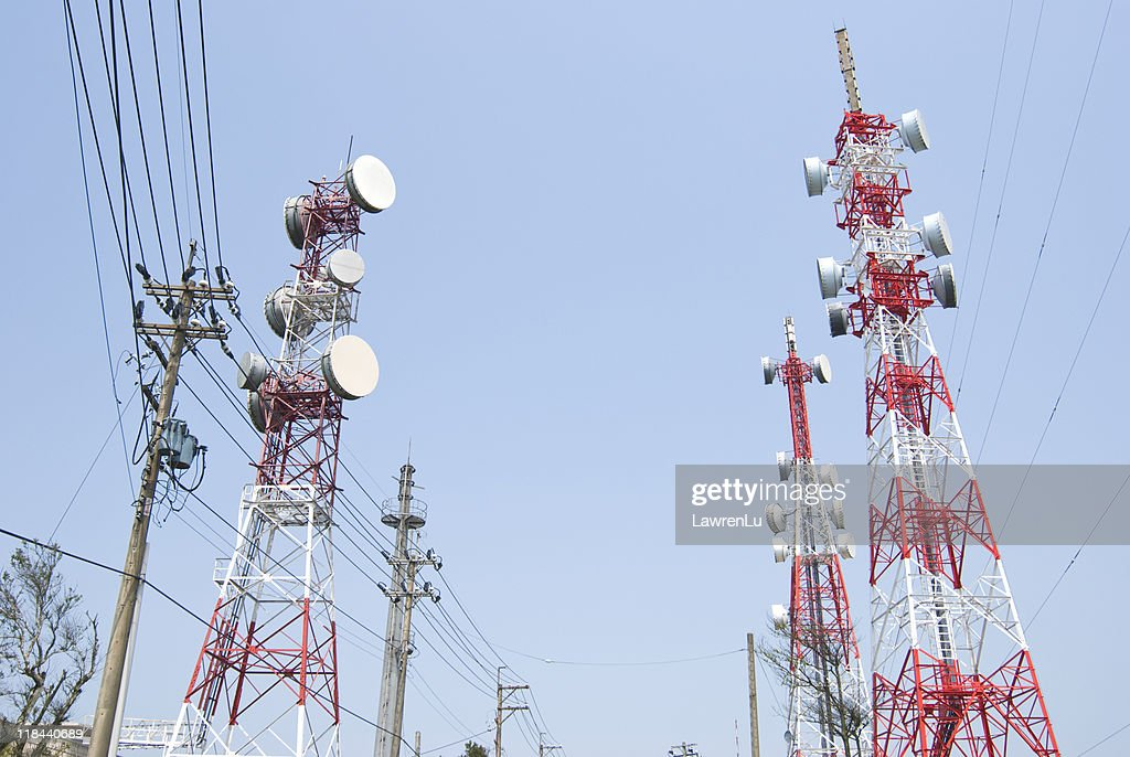 Antenna towers for wireless communication : Stock Photo