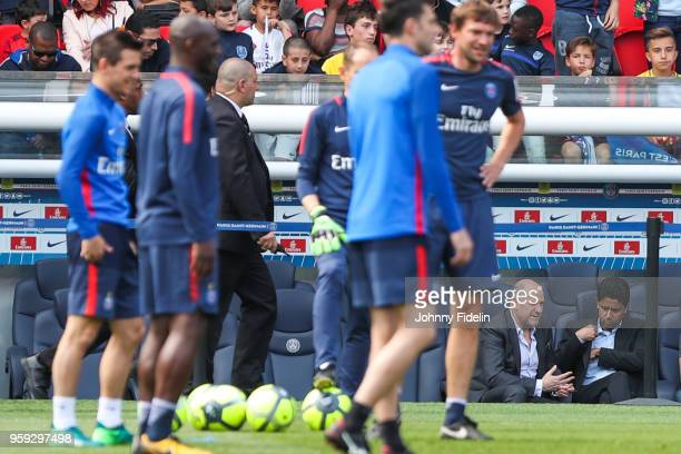 Antero Henrique sporting director and Nasser Al Khelaifi president of PSG during the training session of Paris Saint Germain at Parc des Princes on...