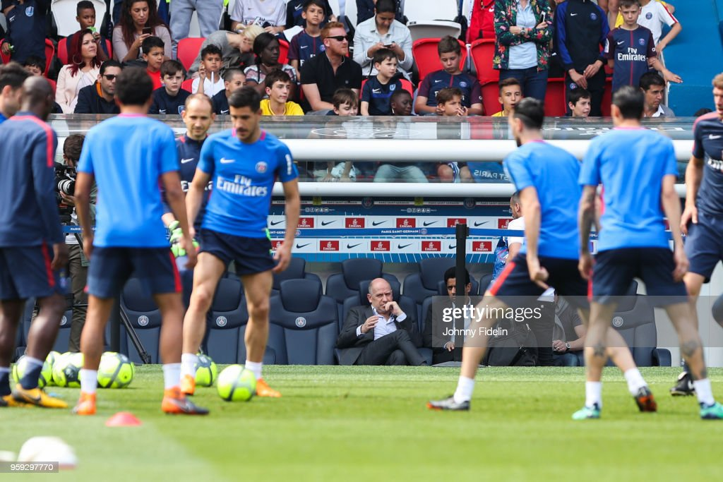 Antero Henrique, sporting director and Nasser Al Khelaifi president of PSG during the training session of Paris Saint Germain at Parc des Princes on May 16, 2018 in Paris, France.