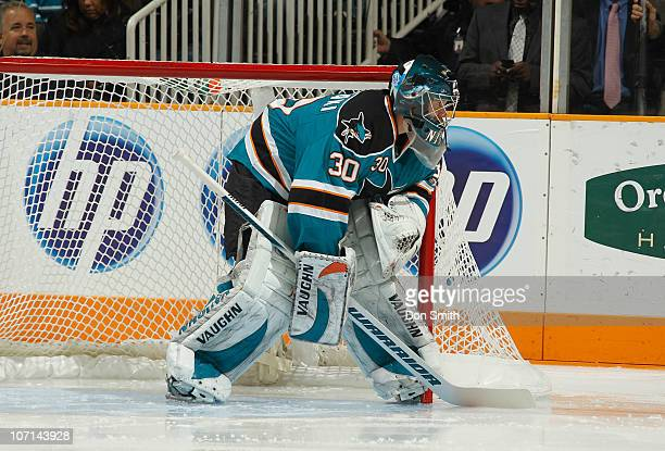 Antero Niittymaki of the San Jose Sharks watches the puck against the Columbus Blue Jackets during an NHL game on November 20 2010 at HP Pavilion at...