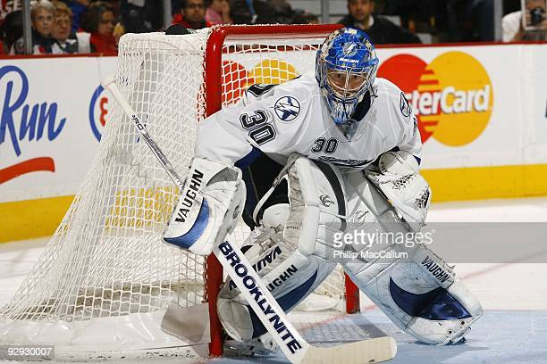 Antero Nittymaki of the Tampa Bay Lightning watches the play in the corner during a game against the Ottawa Senators at Scotiabank Place on November...