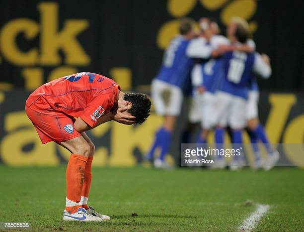 Anthar Yahia of Bochum looks dejected during the Bundesliga match between Hansa Rostock and VfL Bochum at the DKB Arena on December 16 2007 in...