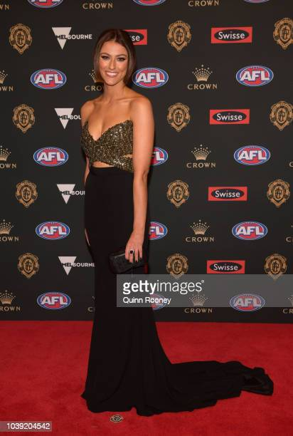 Anthea Pellow the partner of Luke Breust of the Hawks arrives ahead of the 2018 Brownlow Medal at Crown Entertainment Complex on September 24 2018 in...