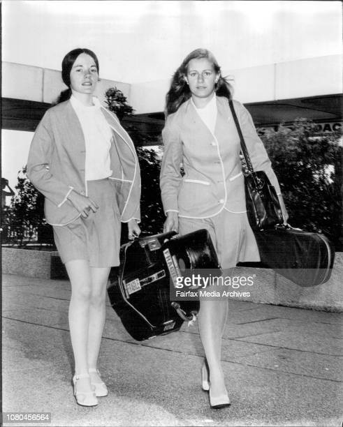 Anthea ScottMitcell of Warrawee with her Cello assisted by Virginia Inkratas 19 of East Lindfield as they arrive at the Overseas Terminal at...