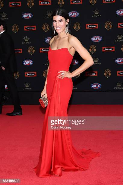 Anthea Sidiropolous partner of Michael Hibberd of the Demons arrives ahead of the 2017 Brownlow Medal at Crown Entertainment Complex on September 25...