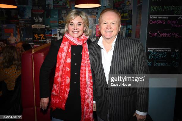Anthea Turner and Mike Batt attend the opening night of Chasing Bono at Soho Theatre on December 13 2018 in London England