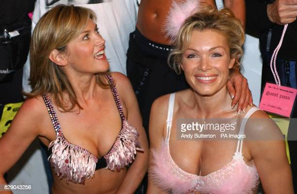 Anthea Turner and model Nell McAndrew during a photocall ahead of the 'Moonwalk' nightime charity walk in aid of Breast Cancer Research at Hyde Park