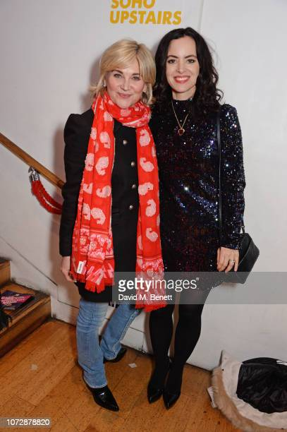 Anthea Turner and Sally Wood attend the Opening Night after party for 'Chasing Bono' at the Soho Theatre on December 13 2018 in London England