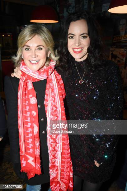 Anthea Turner and Sally Wood attend the opening night of Chasing Bono at Soho Theatre on December 13 2018 in London England