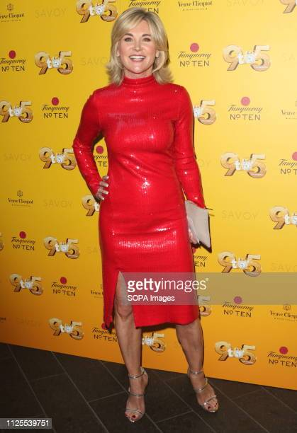 Anthea Turner arrives for the 9 to 5 the Musical Gala Night at The Savoy Theatre The Strand