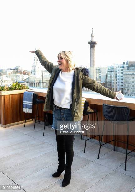 Anthea Turner attends the launch breakfast for Hogie's Heroes an exhibition and charity auction celebrating 40 years of Dave Hogan's photography at...