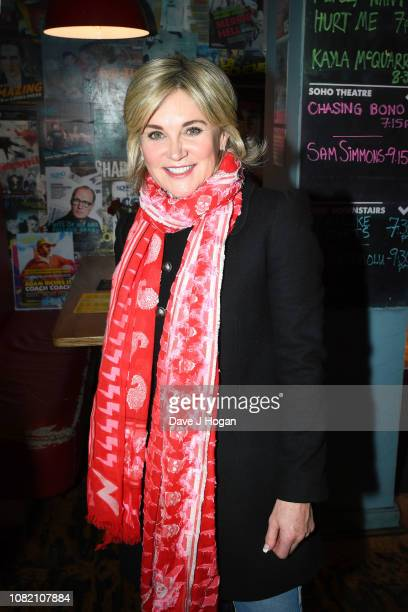 Anthea Turner attends the opening night of Chasing Bono at Soho Theatre on December 13 2018 in London England