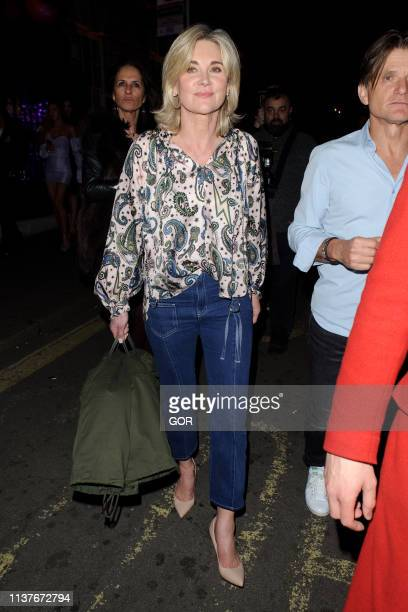 Anthea Turner is seen leaving Annabel's private club Mayfair on March 22 2019 in London England