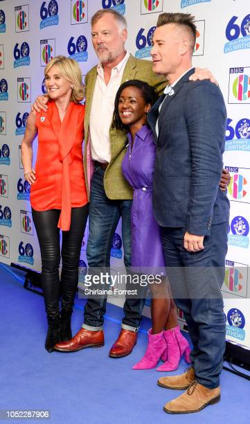 Anthea Turner John Leslie DianeLouise Jordan and Tim Vincent attend the 'Blue Peter Big Birthday' celebration at BBC Philharmonic Studio on October...