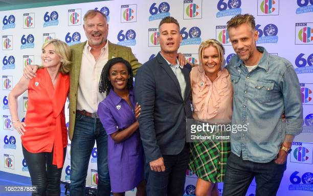 Anthea Turner John Leslie DianeLouise Jordan Tim Vincent Katy Hill and Richard Bacon attend the 'Blue Peter Big Birthday' celebration at BBC...