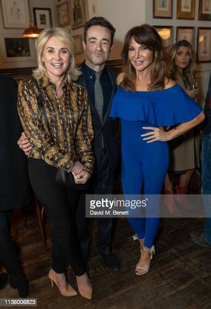 Anthea Turner Joseph McFadden and Lizzie Cundy attend the press night after party for The House On Cold Hill at the Richmond Theatre on April 9 2019...