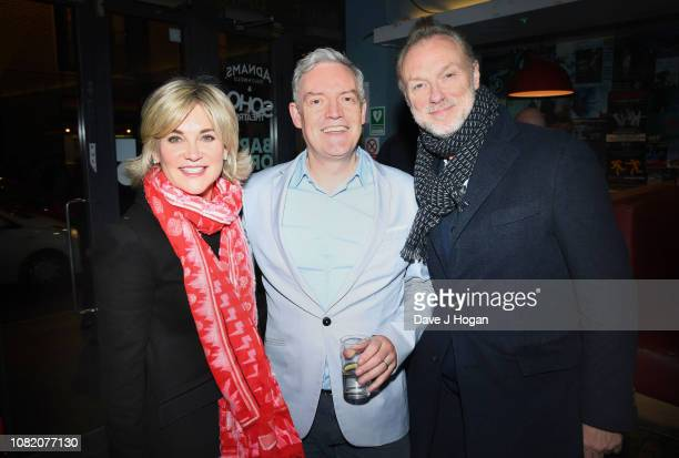 Anthea Turner Neil McCormick and Gary Kemp attend the opening night of Chasing Bono at Soho Theatre on December 13 2018 in London England