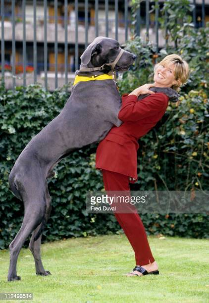 Anthea Turner with a Great Dane Dog during Take Your Dog to Work Day 2000 at Blue Cross in London Great Britain