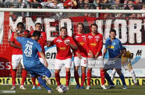 Anther Yahia of Bochum does a free kick during the Second Bundesliga match between FC Energie Cottbus and VfL Bochum at Stadion der Freundschaft on...