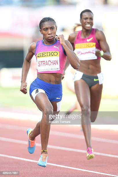 Anthonique Strachan of Bahamas competes in Women's 200m Final during the Seiko Golden Grand Prix Tokyo 2014 at National Stadium on May 11 2014 in...