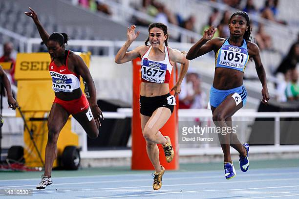 Anthonique Strachan of Bahamas wins the Women's 100 metres Final on the day two of the 14th IAAF World Junior Championships at Estadi Olimpic Lluis...